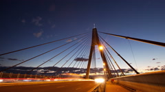 Sydney ANZAC bridge dusk motion timelapse Stock Footage
