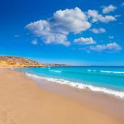 la carolina beach in murcia  at mediterranean sea - stock photo