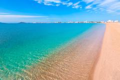 playa paraiso beach in manga mar menor murcia - stock photo
