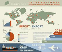 infographic illustration of import and export - stock illustration
