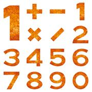 numbers set, orange lava - stock illustration