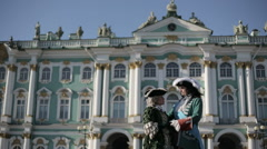 The first emperor of Russia Peter I hugs his beloved Catherine I Stock Footage