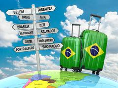 travel concept. suitcases and signpost what to visit in brazil. - stock illustration