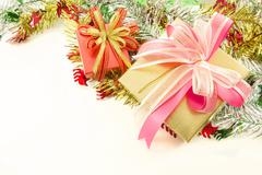 Christmas decoration and giftbox Stock Photos