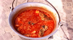 Goulash fish  cooking in a pot 1920x1080 full hd footage Stock Footage