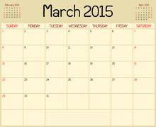 Year 2015 March Planner - stock illustration