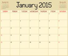 Stock Illustration of Year 2015 January Planner