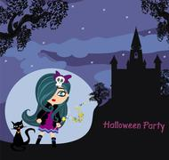 Stock Illustration of halloween invitation with beautiful witch and creepy castle