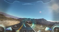 Car driving pov apps display motion graphics GPS technology game road satellite Stock Footage