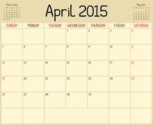 Year 2015 April Planner - stock illustration