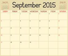 Year 2015 September Planner - stock illustration