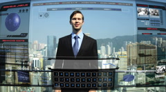 Asian China communication graphics motion navigation technology touch screen Stock Footage