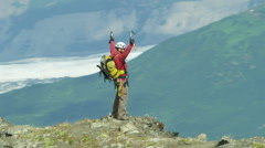 Male Climber Aerial Alaska Mountain Peak Extreme Sport Achievement 4K RED EPIC - stock footage