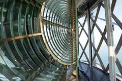 Huge fresnel lens in a lighthouse Stock Photos