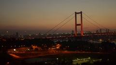 Stock Video Footage of Illuminated Bosporus, Bosphorus, Bridge, night, evening, contour, dusk, sundown