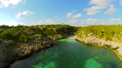 Aerial view small bay menorca Stock Footage