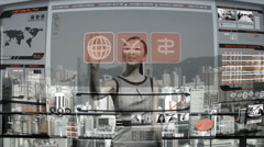 Asian banking businesswoman China motion graphics navigation online touch screen Stock Footage