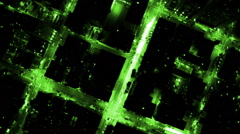 aerial building electricity light night motion graphics networking fiber optic - stock footage