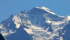 View of snowy mountain Jungfrau peak from Interlaken Stock Footage