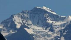 View of snowy mountain Jungfrau peak from Interlaken Stock Footage