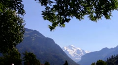 View of Swiss Alps with snowy mountain Jungfrau peak from Interlaken Stock Footage