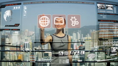 Asian business communication motion graphics interactive navigation touch screen Stock Footage