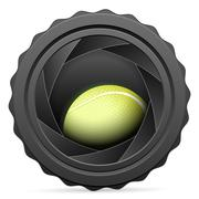 Camera shutter with tennis ball Piirros