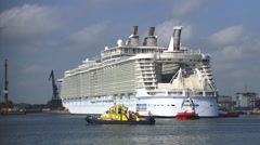 Oasis of the Seas, worlds largest cruise ship, waiting for high tide to dock Stock Footage