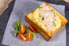 mayonnaise honey toast sliced bread - stock photo