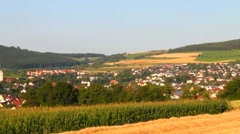 Small old town Engen neare mountain Hohenhewen and the border with Switzerland . Stock Footage