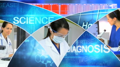Motion graphics laboratory medical microscope technology touch screen analysis Stock Footage