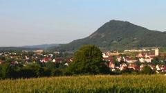Swiss- Hohenhewen-846 m and  Stadt Engen  - stock footage
