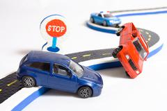 Two cars accident on road Stock Photos