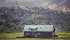 Refuge in the mountain, Landmannalaugar, Iceland Stock Photos