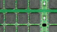 Camera zooms in to computer memory chips. - stock footage