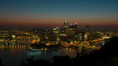 4K Pittsburgh Skyline Sunrise Timelapse Zoom-in 1 Stock Footage