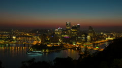 Pittsburgh Skyline Sunrise Timelapse Zoom-in 1 Stock Footage