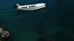 Fishing boat afloat in the Mediterranean Sea. Croatia shore. Stock Footage