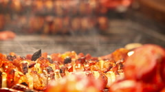 Meat roasts on the Fire: European national dish - stock footage