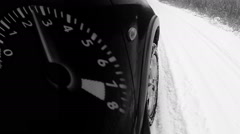Winter road front car wheel extreme driving video tacho Stock Footage