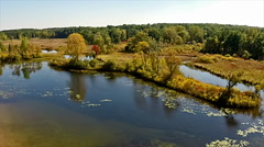 Aerial pan over local state park Stock Footage