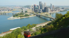 Pittsburgh Duquesne Incline and Skyline 1 Stock Footage