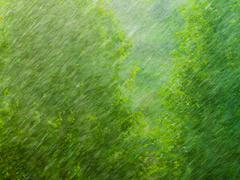 Stock Photo of rainy outside window green background texture.