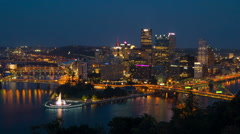 Pittsburgh Skyline Night Timelapse Zoom-in 1 Stock Footage