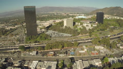 Aerial Shot of Universal City and 101 Freeway Stock Footage