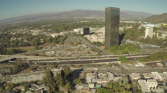 Stock Video Footage of Aerial Shot of Universal City and 101 Freeway