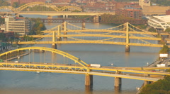 4K Pittsburgh Allegheny River Bridges 8 Stock Footage
