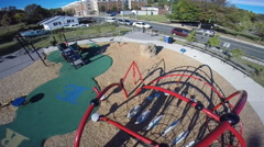 Hovering low over an empty playground in a local neighborhood (2 of 2) Stock Footage