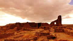 Chaco Culture 23 Time Lapse Pan R Pueblo Bonito Native American Ruins Sunset. - stock footage