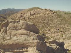 Aerial Shot of Vasquez Rocks with Rock Climber in Aqua Dulce Stock Footage